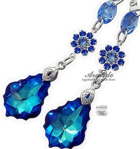 SWAROVSKI piękne kolczyki BLUE BAROQUE GLOSS