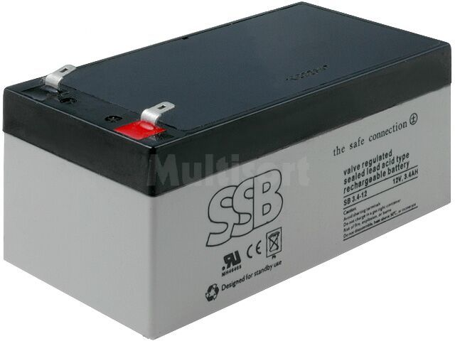 Akumulator kwasowo-ołowiowy SSB 12V 3,4Ah żywotność 6-9 lat
