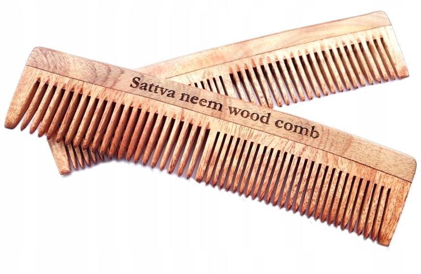 SATTVA Grzebień z drzewa miodli indyjskiej NEEM 19cm