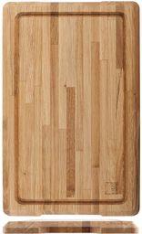 H&H 824357 profesjonalna deska do krojenia z drewna dębowego z krawędzią do chwytania, 55 x 35 x 3,5 cm, drewno