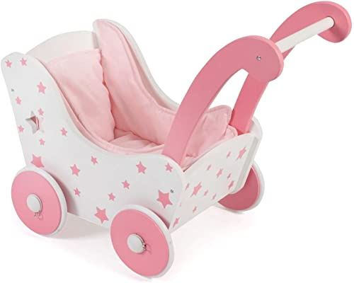 Bayer Chic 2000 425 88 Drewniany wózek dla lalek, różowy