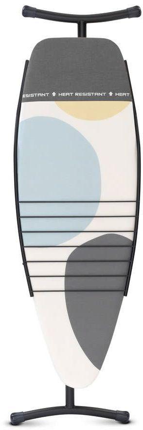 Brabantia - deska do prasowania rozmiar 135 x 45 cm, rama szara metaliczna 35 mm - pokrowiec z miejscem na gorące żelazko - stojak na ubrania - spring bubbles