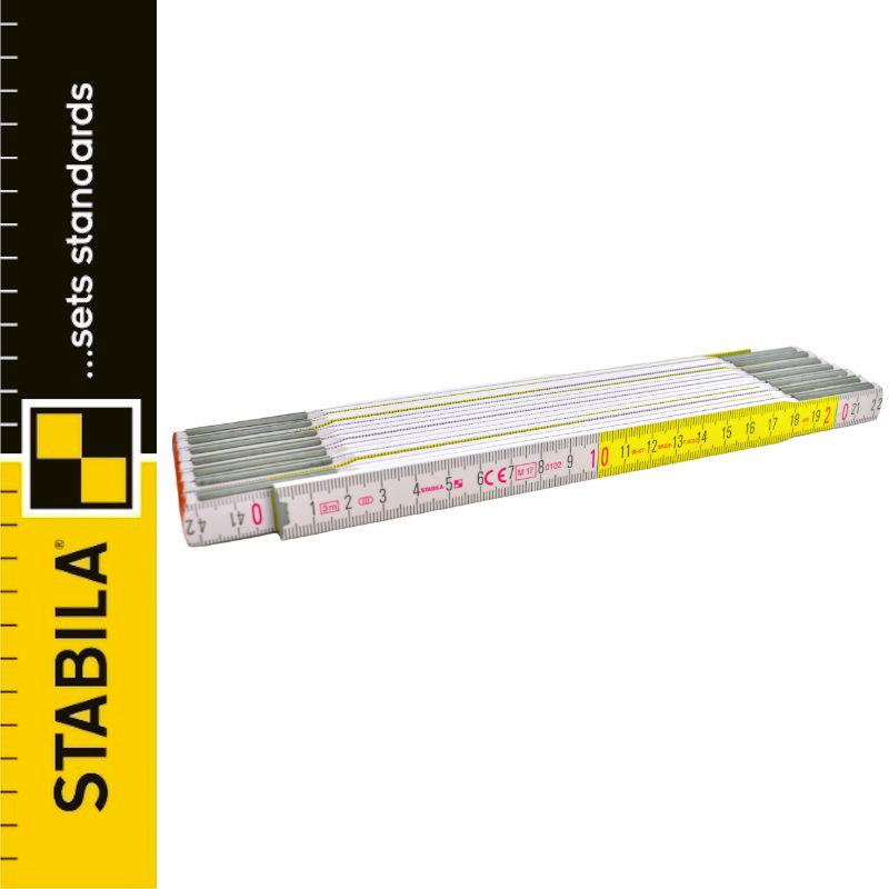 STABILA Miarka składana drewniana biało-żółta 3m typ 617