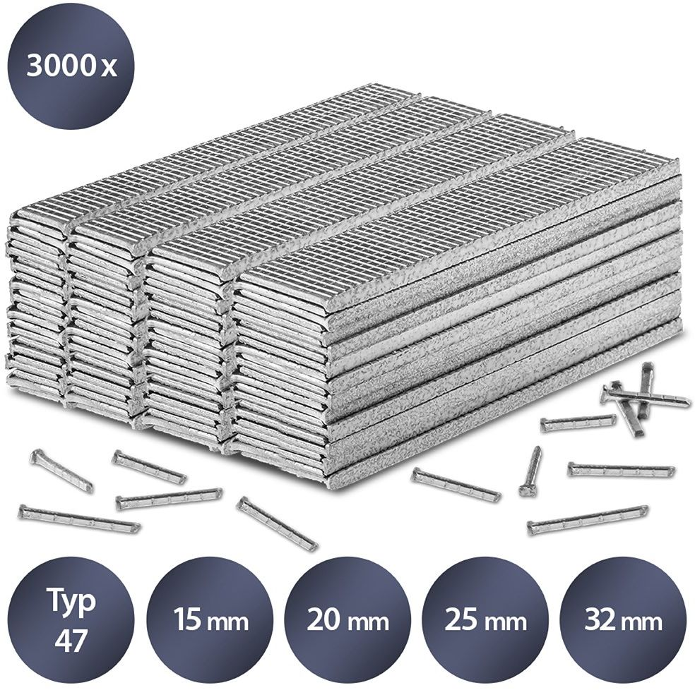 Zestaw gwoździ do zszywacza rodzaj 47, długość 15-32 mm (3000 sztuk)