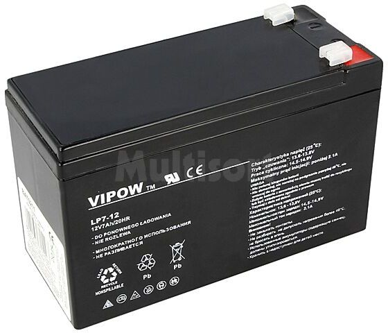 Akumulator kwasowo-ołowiowy VIPOW 12V 7Ah żywotność 5 lat