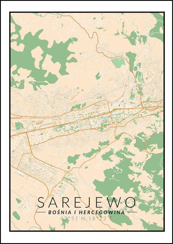 Sarajewo mapa kolorowa - plakat wymiar do wyboru: 30x40 cm