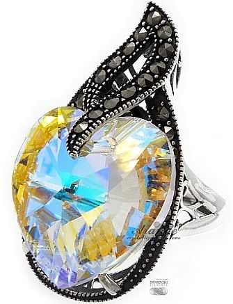 SWAROVSKI pierścionek AURORA HEART ADMIRE SREBRO