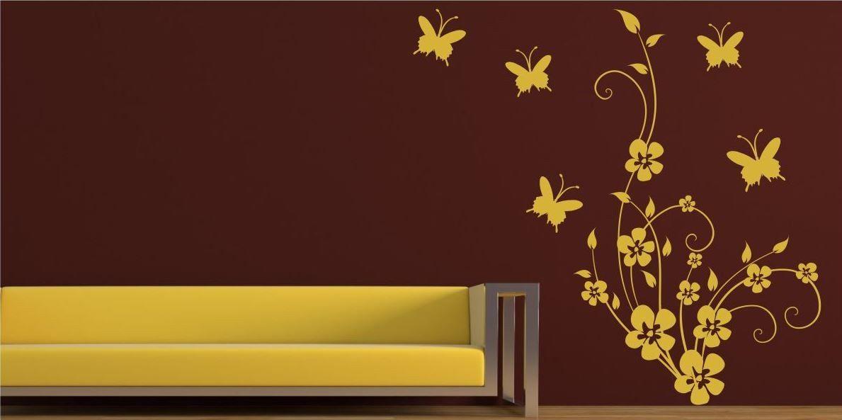 Naklejka Kwiaty i Motylki