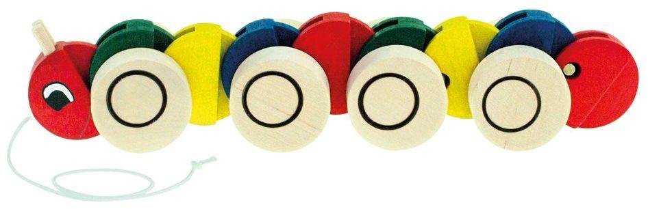 Bino 90985 Kolorowa, zabawna zabawka do ciągnięcia z drewna. Naśladuje ruchy gąsienicy i pomaga urozmaicić nowych spacerowiczów. Rozmiar około 30 x 8 x 7 cm, wielokolorowa