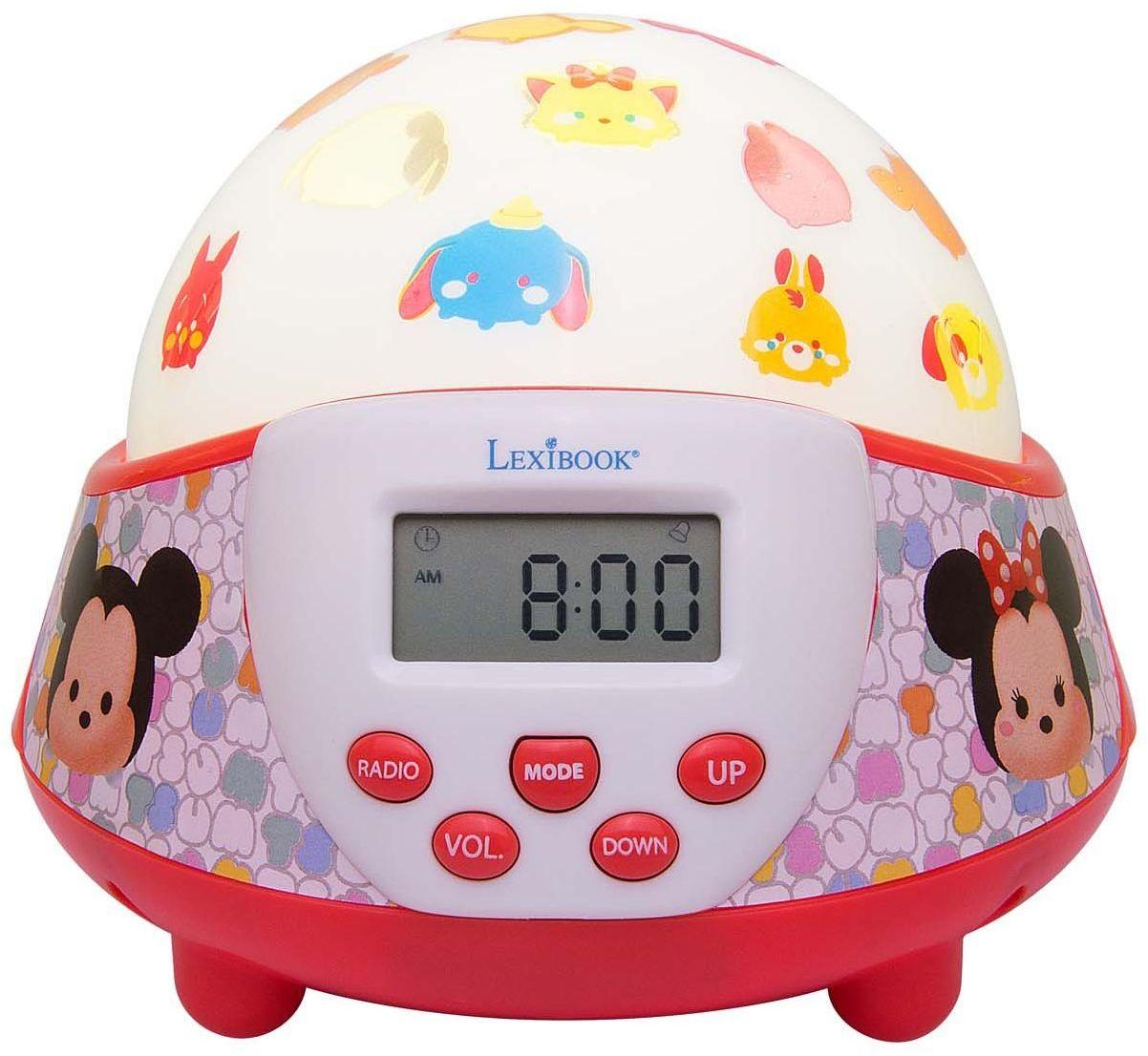 Lexibook Disney Tsum Tsum Mickey zegar z lampką nocną, energooszczędny, bateria, czerwony/biały, NLJ140TT