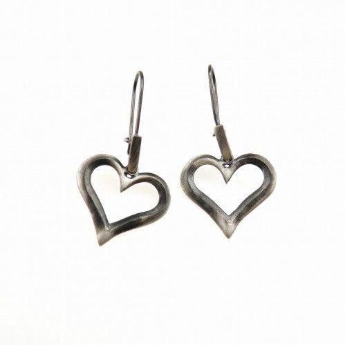 Serce III grafitowe - kolczyki srebrne