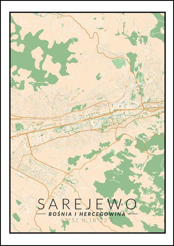 Sarajewo mapa kolorowa - plakat wymiar do wyboru: 40x60 cm