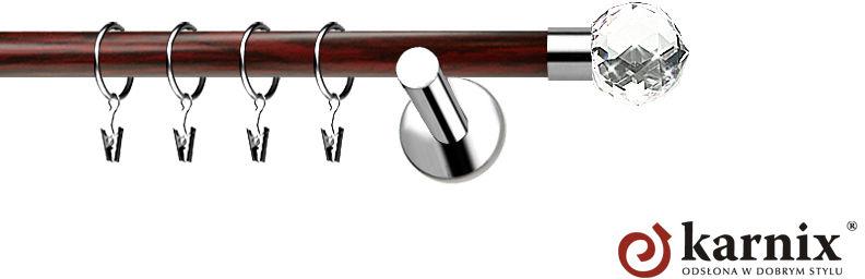 Karnisze Nowoczesne NEO Prestige pojedynczy 19mm Beluna Crystal INOX - mahoń