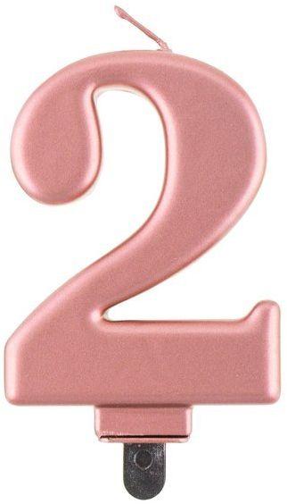 Świeczka cyfra 2 metaliczna różowe złoto 1 sztuka PF-SCRZ2