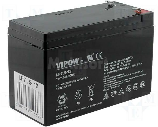 Akumulator kwasowo-ołowiowy VIPOW 12V 7,5Ah żywotność 5 lat