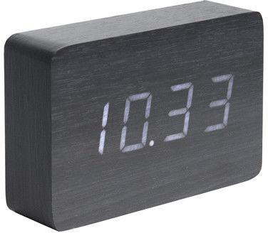 Zegar stołowy, budzik Square black, LED