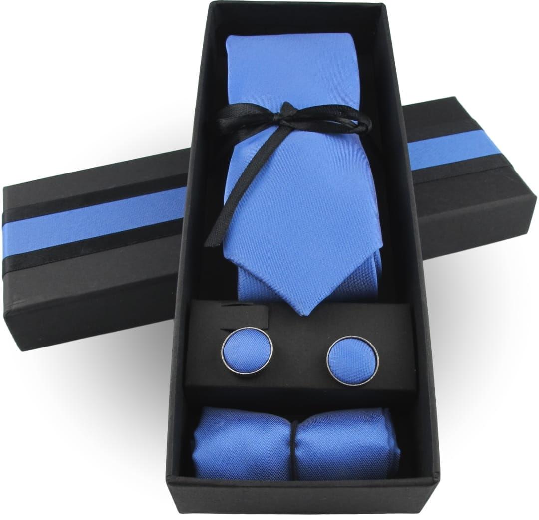 Krawat Męski Elegancki Zestaw Spinki Poszetka wąski śledź gładki niebieski błękitny M297
