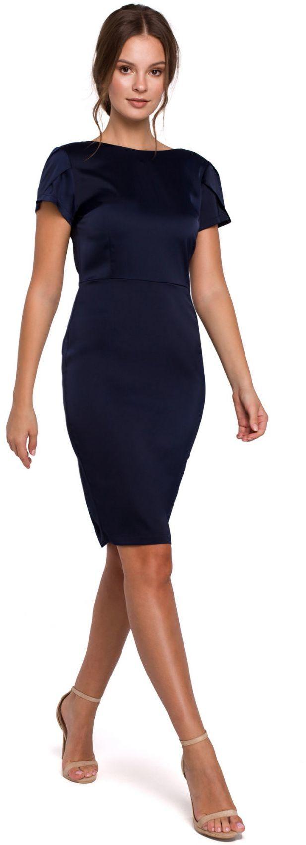 K041 Sukienka z dekoltem typu woda z tyłu - granatowa