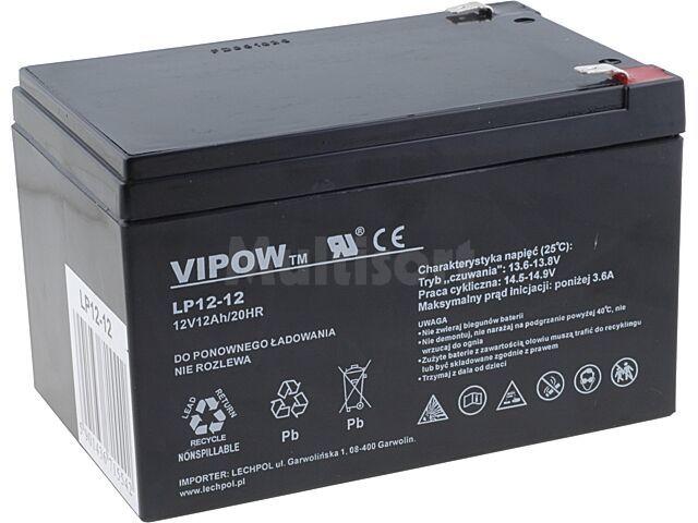 Akumulator kwasowo-ołowiowy VIPOW 12V 12Ah żywotność 5 lat