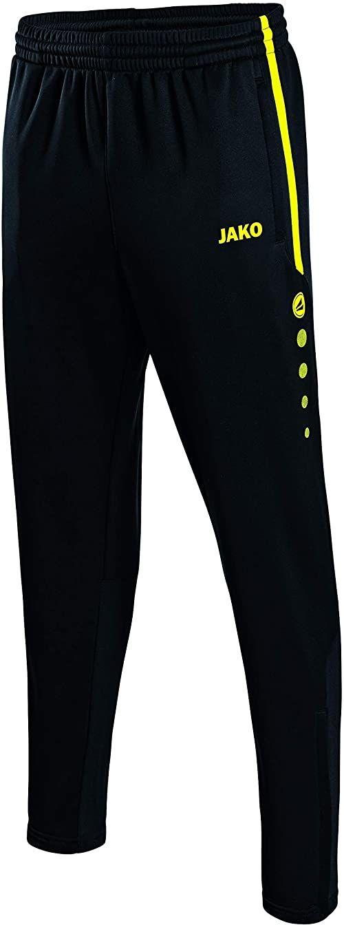 JAKO męskie spodnie treningowe Active, czarny/neonowy żółty, S, 8495