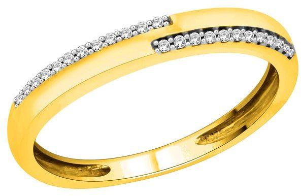 Złota Obrączka 585 z Diamentami Szlif Brylantowy