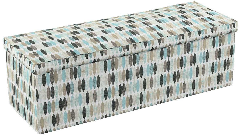 Skrzynia tapicerowana, wzory w odcieniach błekitu, beżu i czarnego na jasnym tle , 90  40  40 cm, Modern