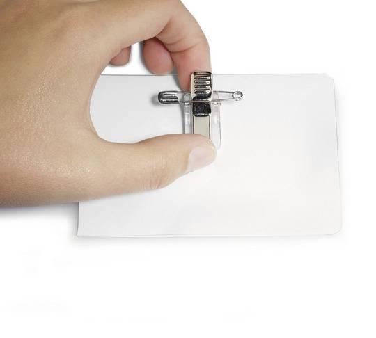 Identyfikator samolaminujący z samoprzylepnym kombi-klipem. 54X90 mm - X09960
