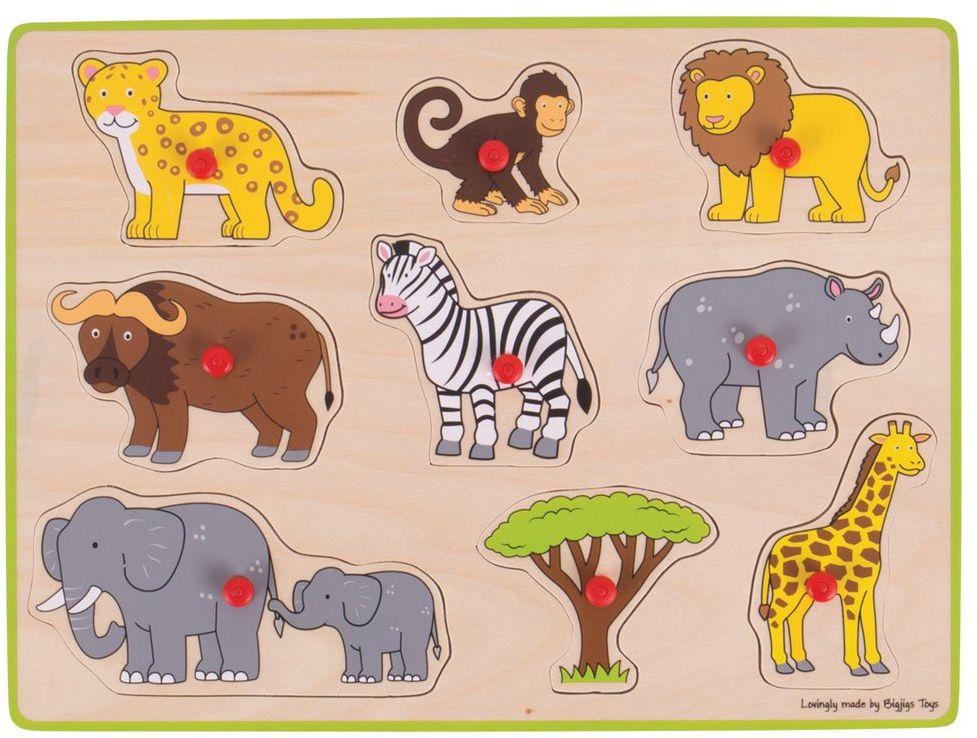 Houten Puzzle z wypustkami Safari, 9 dlg.