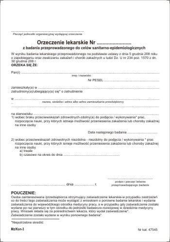 Orzeczenie lekarskie do celów sanitarno-epidemiologicznych [Pu/Ksn-3]