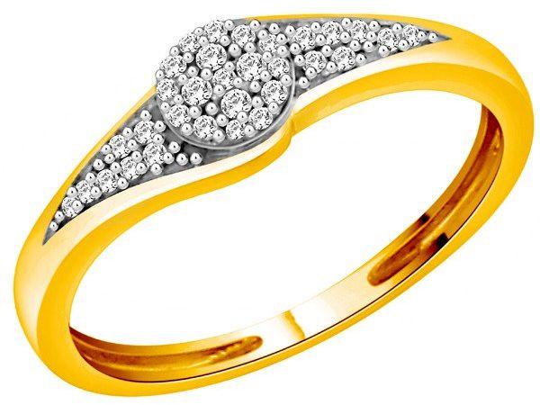 Złoty Pierścionek Zaręczynowy Wysadzany Brylantami