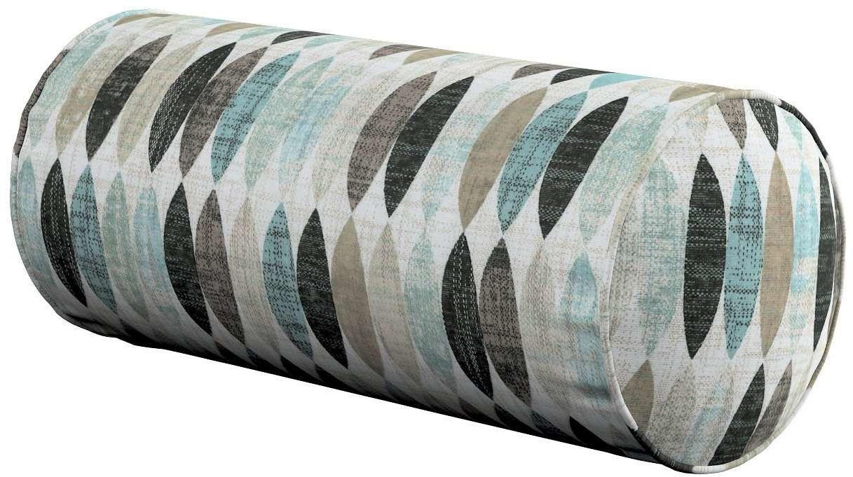 Poduszka wałek prosty, wzory w odcieniach błekitu, beżu i czarnego na jasnym tle , Ø16  40 cm, Modern