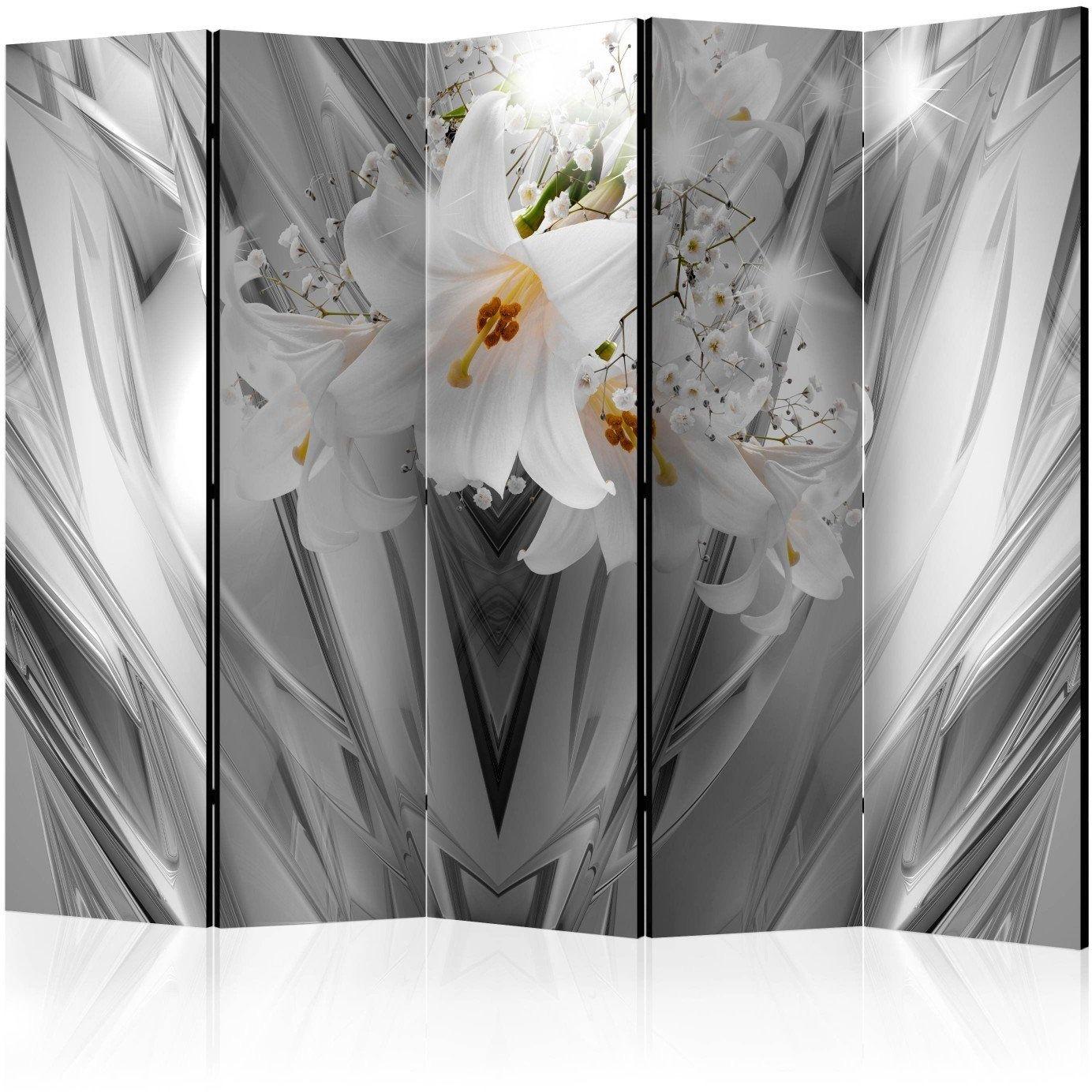 Parawan 5-częściowy - stalowe lilie ii [room dividers]
