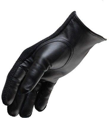 Męskie rękawiczki skórzane nieocieplane łączone z materiałem