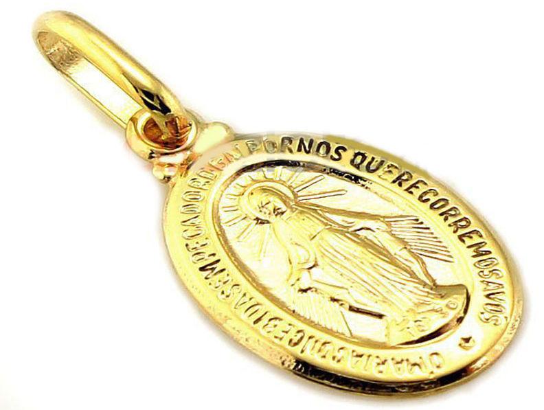 Złoty medalik 585 szkaplerz z Matką Boską 14kt