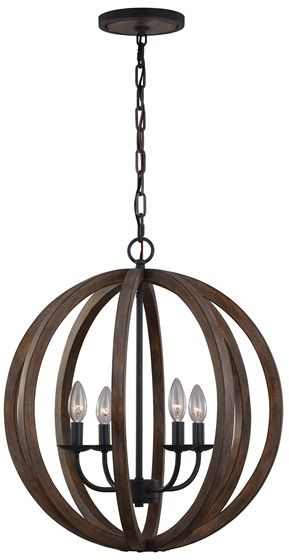 Lampa wisząca Allier FE/ALLIER/4P WW Feiss drewniana oprawa w dekoracyjnym stylu