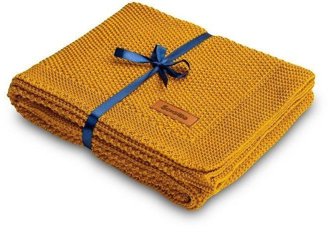 SENSILLO Koc dziergany bawełna 100x80 musztardowy