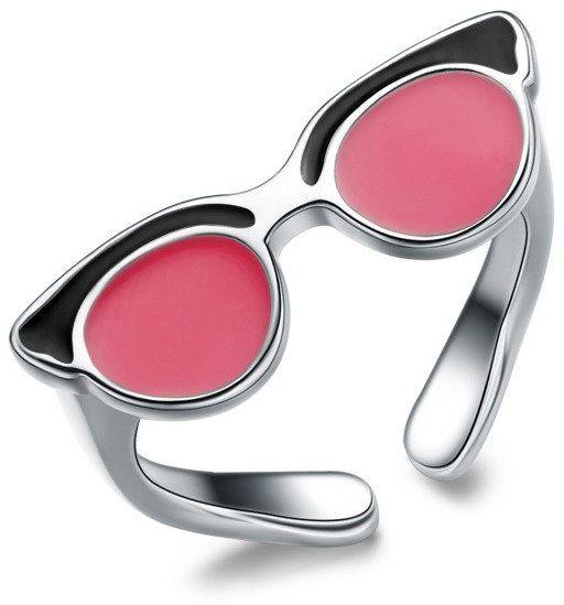 Srebrny Pierścionek Okulary Regulacja Rozmiaru