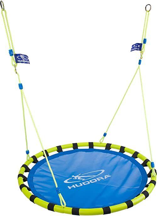 Hudora Nest Swing Huśtawka Gniazdo dla Dorosłych, Niebieski/Żółty