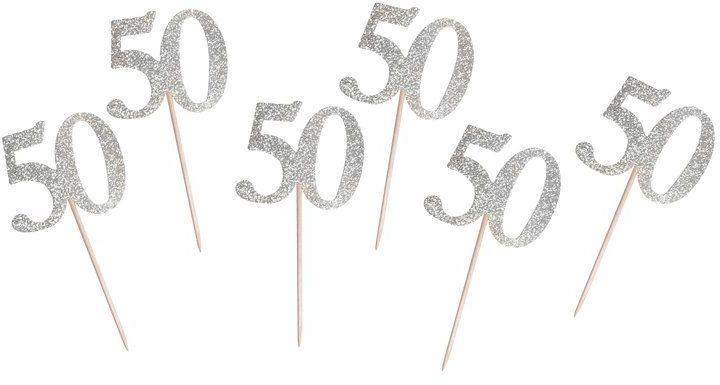 Karteczki na piku pikery na 50 urodziny srebrne 6szt QT-P50S