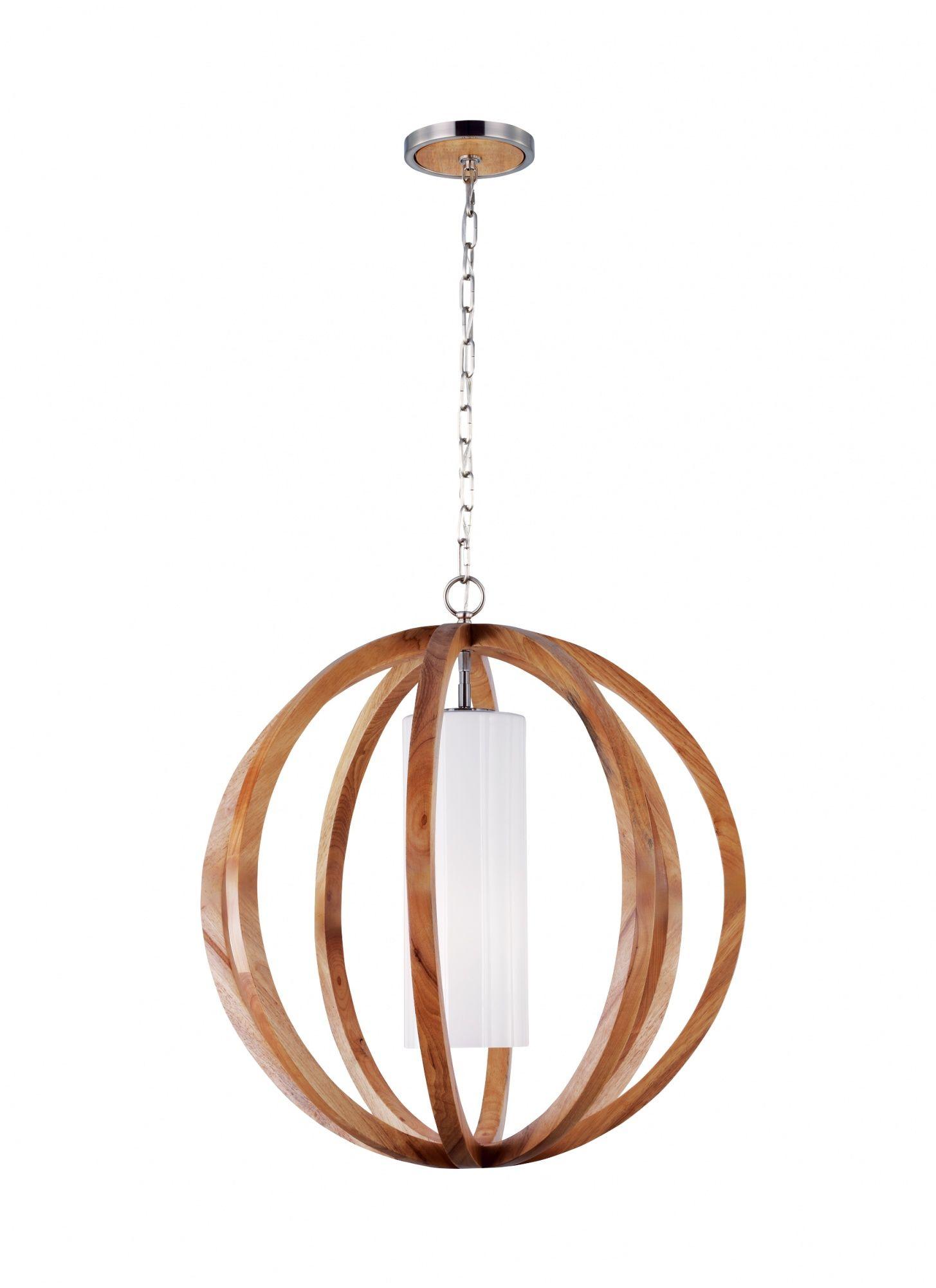 Lampa wisząca Allier FE/ALLIER/P/L LW Feiss drewniana oprawa w nowoczesnym stylu