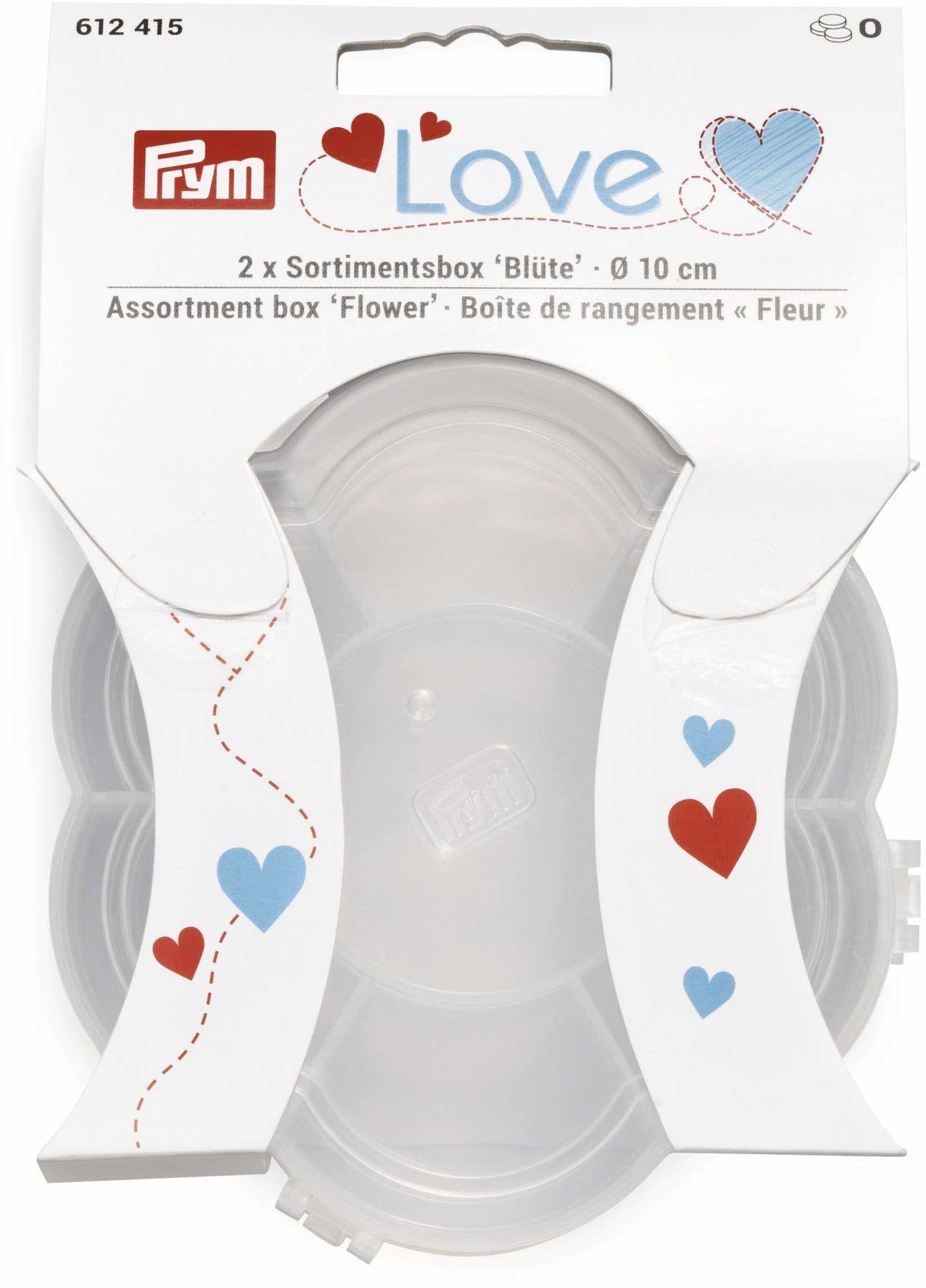 Prym 612415 Love pudełko asortymentowe z kwiatami, puste pudełko do sortowania, tworzywo sztuczne, przezroczyste, 10 cm