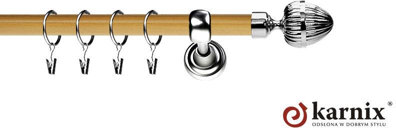 Karnisz Metalowy Prestige pojedynczy 19mm Milano INOX - pinia