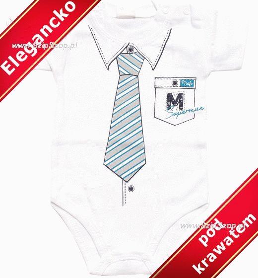 Body dla niemowląt Mały Elegant z extra krawatem krótki rękawek