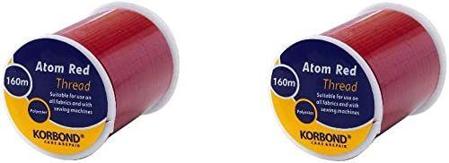 Korbond Twin Pack 320 m Atom Red uniwersalna nić poliestrowa - do maszyn do szycia ręcznego - bez kurczenia się - idealny do dopasowania, dopasowania, pikowania, rzemiosła, napraw i upiększania, 160 m