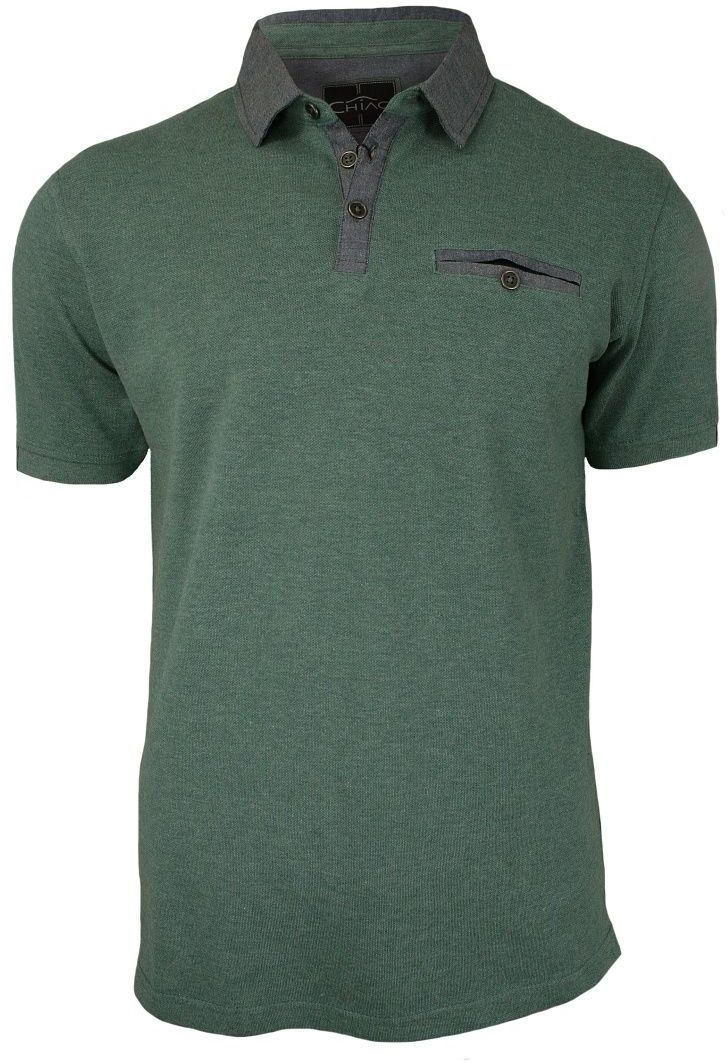 Zielona, Oliwkowa Koszulka Polo z Kieszonką - 100% BAWEŁNA - Chiao, Męska, Krótki Rękaw TSCHIAOM3101PSGREEN