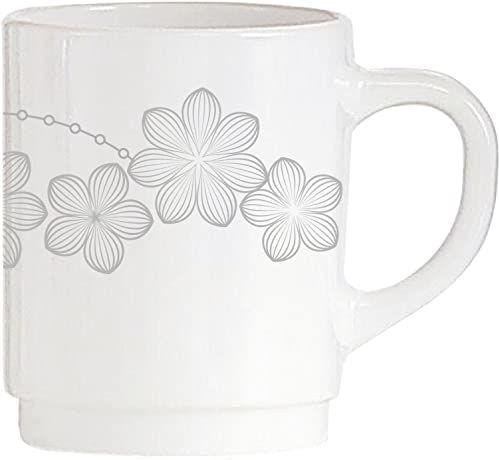 Dajar Kubek do kawy Dream Flower 250 ml AMBITION, szkło, biało-szary, 7 cm