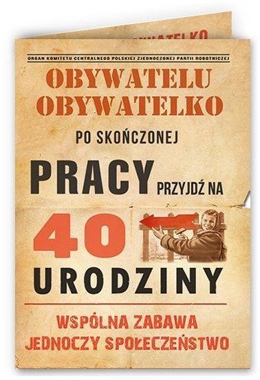 Zaproszenia na 40 urodziny PRL z kopertami 10 sztuk ZX6810-10