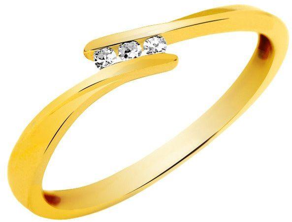Złoty Pierścionek Zaręczynowy z Brylantami 0.04ct