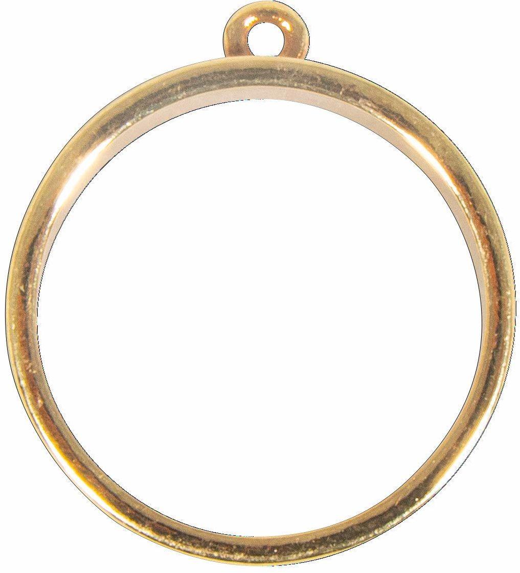 Rayher 22795616 oprawa metalowa: Wisiorek okrągły, 30 mm, złoty, SB-Btl 1 sztuka, normalny