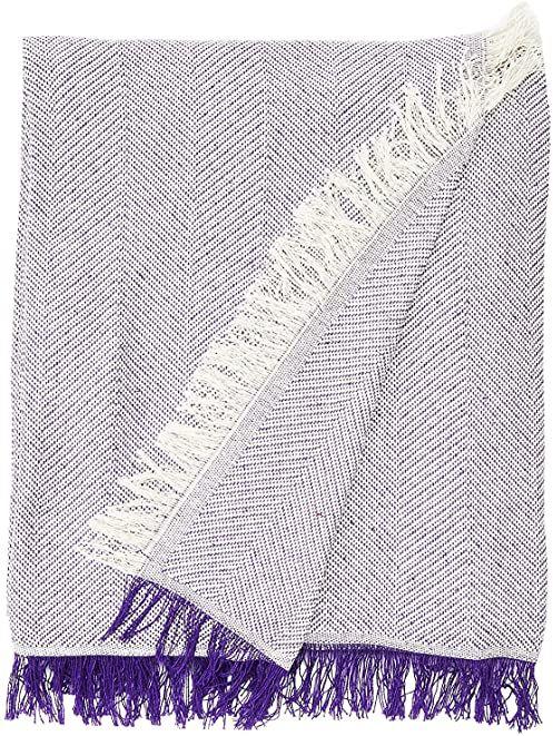 Martina Home Uniwersalna pianka piankowa, 80% bawełna, 20% poliester, ecru / fioletowy, 130 x 180 cm
